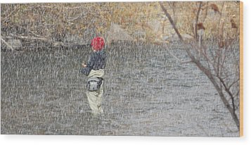 River Fishing In The Snow Wood Print by Brent Dolliver