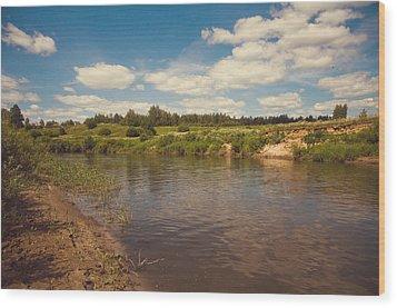 River Flows Wood Print by Jenny Rainbow