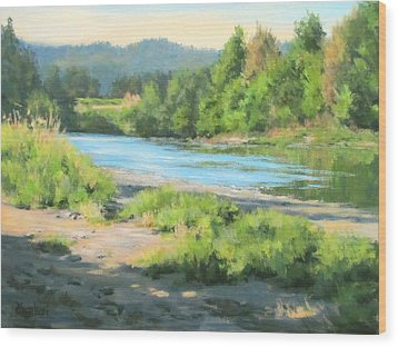 River Forks Morning Wood Print by Karen Ilari