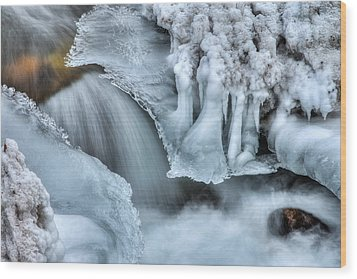 River Ice Wood Print by Chad Dutson
