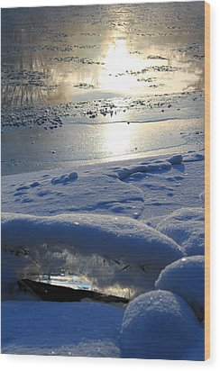 River Ice Wood Print by Hanne Lore Koehler