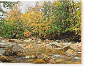 Wood Print featuring the photograph River In Fall Colors by Amazing Jules