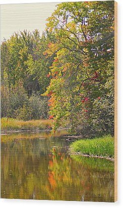 River In Fall Wood Print by Rhonda Humphreys