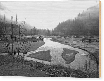 River In The Rain Wood Print by Gordon  Grimwade