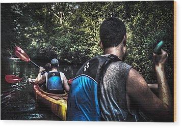 River Kayaking Wood Print
