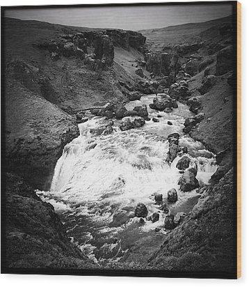 River Landscape Iceland Black And White Wood Print