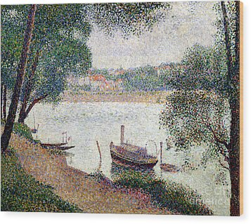 River Landscape With A Boat Wood Print by Georges Pierre Seurat