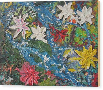 River Of Flowers  Wood Print by Max Lines