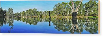 River Panorama And Reflections Wood Print by Kaye Menner