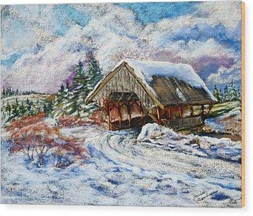River Rd Covered Bridge Wood Print by Jane Baribeau