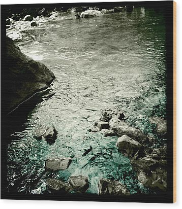 River Rocked Wood Print by Susan Maxwell Schmidt