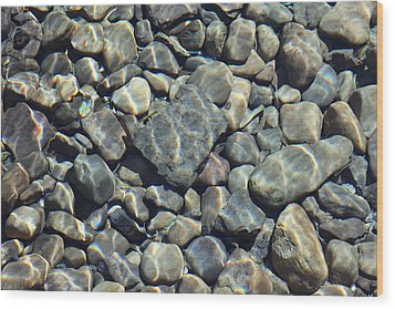 Wood Print featuring the photograph River Rocks One by Chris Thomas