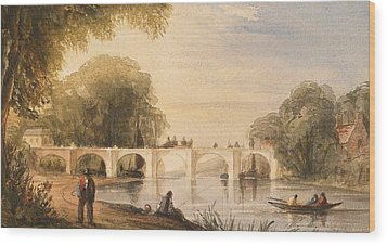 River Scene With Bridge Of Six Arches Wood Print by Robert Hindmarsh Grundy