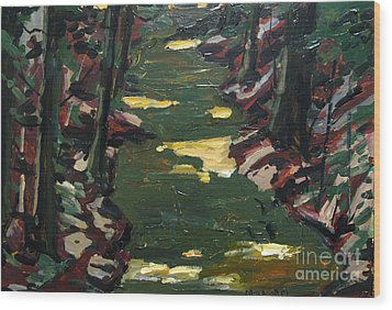 River Shadows After Sisley Wood Print by Charlie Spear