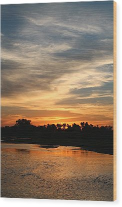 Wood Print featuring the photograph River Sun by Alicia Knust