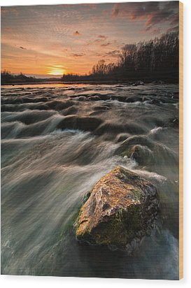 River Sunset Wood Print by Davorin Mance