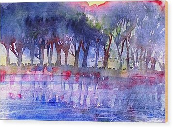 River Trees  Wood Print by Trudi Doyle