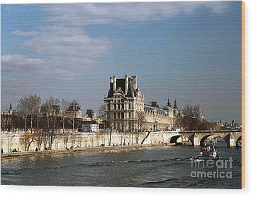 River View In Paris Wood Print by John Rizzuto