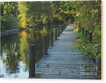River Walk In Traverse City Michigan Wood Print by Terri Gostola