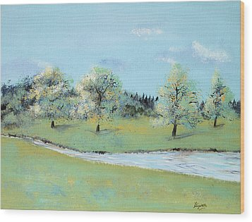 Wood Print featuring the painting River Windrush by Elizabeth Lock