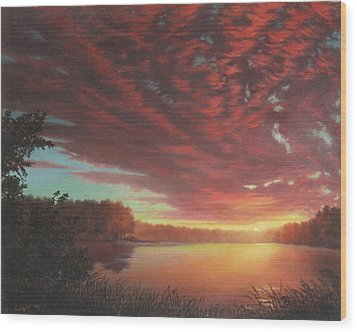 Riverbend Sunset Sky River Landscape Oil Painting American Yellow Pink Orange Wood Print by Walt Curlee