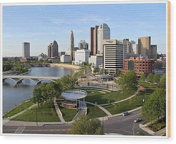 Riverfront Columbus Wood Print by Joseph Wickham