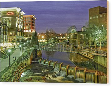 Riverplace And Art Crossing At Sunset In Downtown Greenville Sc Wood Print