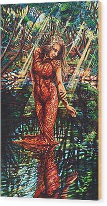 River's Edge Wood Print by Greg Skrtic
