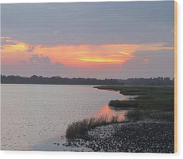 River's Edge Sunset Wood Print by Joetta Beauford