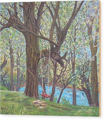 Riverside Wood Print by Caroline Street