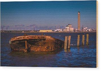 Riverside Wreck Wood Print by Dawn OConnor