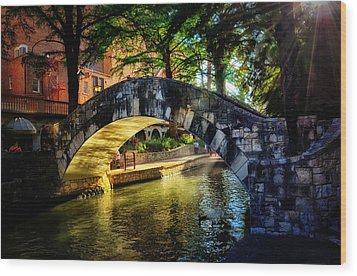 Riverwalk In The Sun Wood Print by Tricia Marchlik