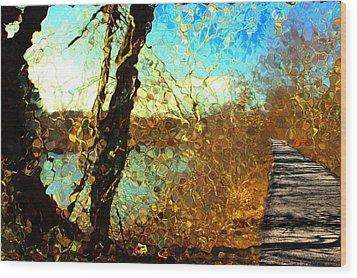 Riverwalk Wood Print by Terence Morrissey