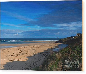 Riviere Sands Cornwall Wood Print by Louise Heusinkveld