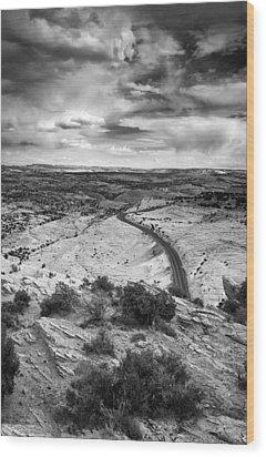 Road In The Desert Wood Print by Andrew Soundarajan