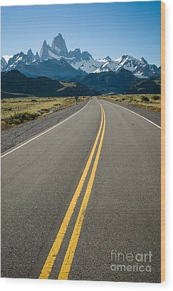 Road Leading To Fitz Roy In Patagonia Wood Print by OUAP Photography