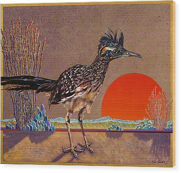 Road Runner At Sundown Wood Print by Bob Coonts
