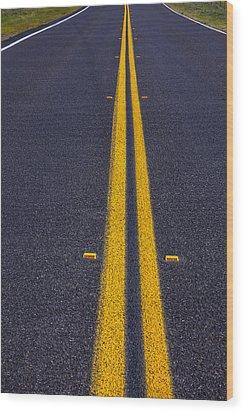 Road Stripe  Wood Print by Garry Gay