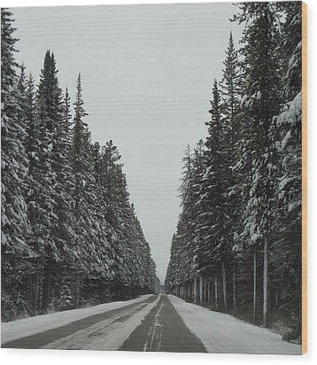 Road To Banff Wood Print by Cheryl Miller