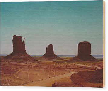 Road To Monument Valley Wood Print by Harvey Rogosin