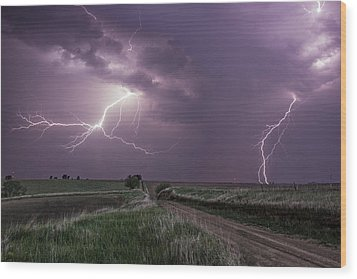 Road To Nowhere - Lightning Wood Print