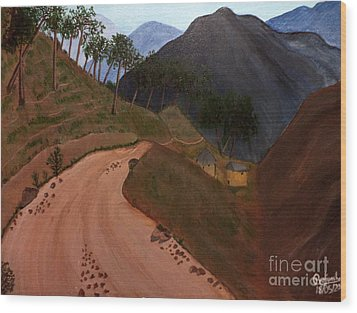 Road To The Hills II Wood Print