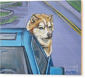 Road-trip - Dog Wood Print