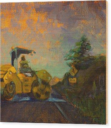 Road Work Ahead Wood Print by Athena  Mantle