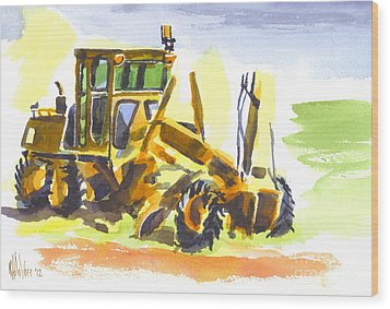 Roadmaster Tractor In Watercolor Wood Print by Kip DeVore