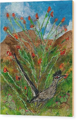 Roadrunner And Ocotillo Wood Print
