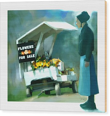 Wood Print featuring the painting Roadside Flower Stand Alternate Version by Bob Salo