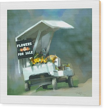 Wood Print featuring the painting Roadside Flower Stand by Bob Salo