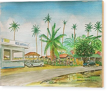 Roadside Food Stands Puerto Rico Wood Print by Frank Hunter