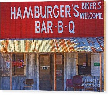 Roadside Hamburger Joint 20130309 Wood Print by Wingsdomain Art and Photography